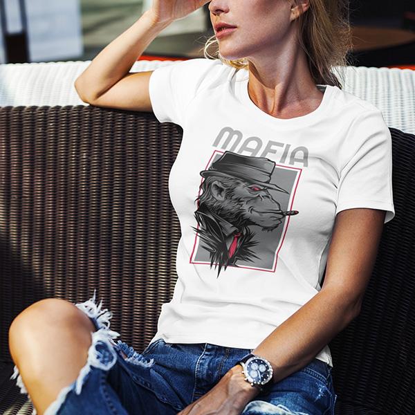 maglietta mafia gorilla donna