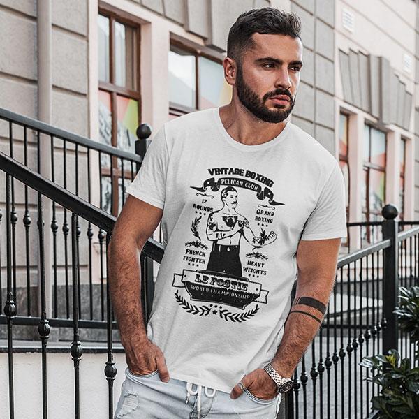 boxe vintage man t-shirt