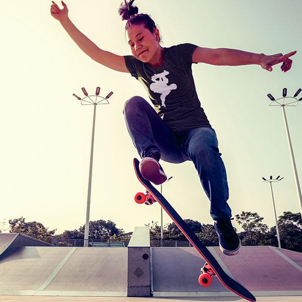skate trick t-shirt woman