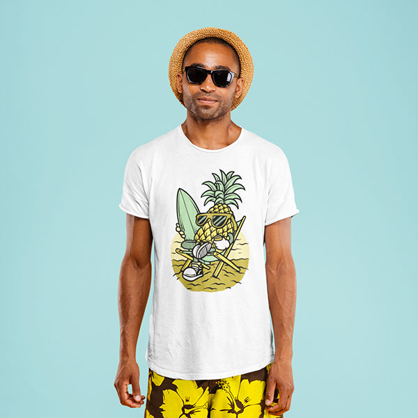 pineapple surfer t-shirt man
